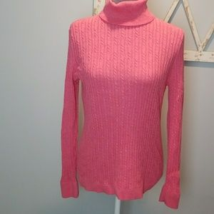 large Talbots pink cable knit turtleneck